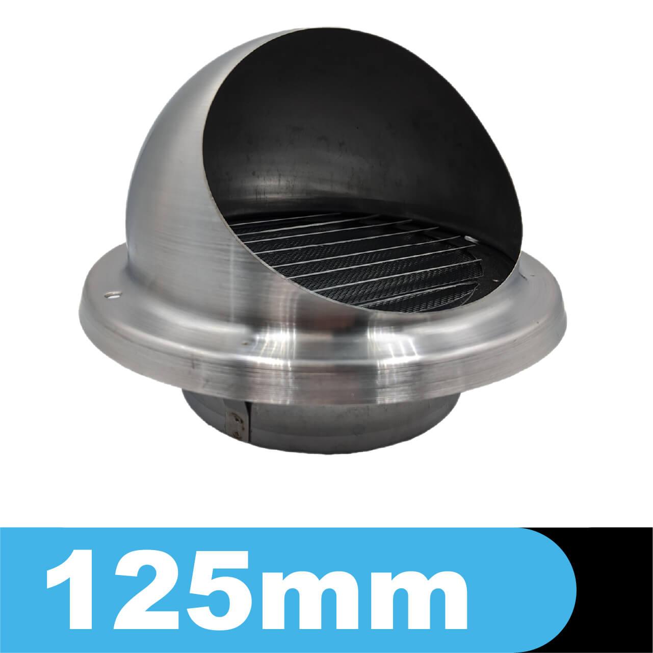 Czerpnia - wyrzutnia ścienna ze stali kwasoodpornej z okapnikiem, średnica fi 125mm