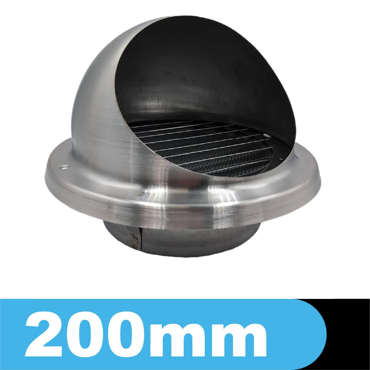 Czerpnia - wyrzutnia ścienna ze stali kwasoodpornej z okapnikiem, średnica fi 200mm
